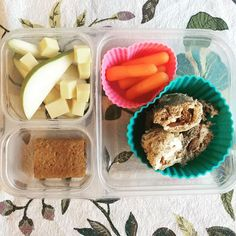 School lunch: sliced pears and cheddar cheese cubes, baby carrots, whole wheat pinwheels with cream cheese, apple butter and cinnamon and a blueberry fig bar. This is one of those lunches that I'm pretty sure will come back empty. (Not like when I slip in rice or quinoa...)
