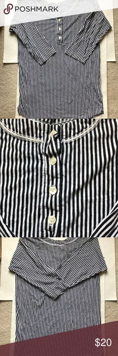 Saks Fifth Avenue Striped Long Sleeve Tunic This item can be worn as a tunic, dress, or nightgown! It's in absolutely perfect condition!  Length: 32 inches Pit to pit: 21 inches Saks Fifth Avenue Tops Tunics