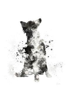 Border Collie ART PRINT Illustration Dog Home Decor by SubjectArt