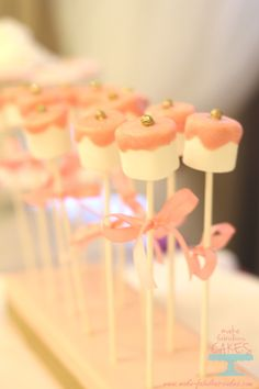 Pink and gold marshmallow pop