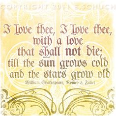 5.00 0FF - I love Thee - Love Quote Shakespeare Print - Square. $12.99, via Etsy.