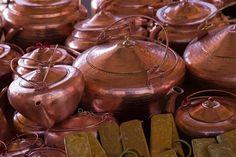 Copper kettles, Lijiang Market, Lijiang, Yunnan Province, China