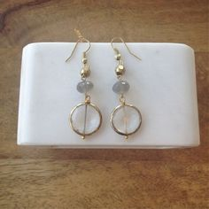 Quartz Pyrite Moonstone Earrings- Laura James Jewelry – Laura James Jewelry