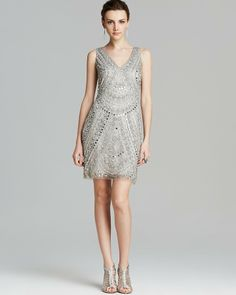 Aidan Mattox Dress - Sleeveless V Neck Beaded