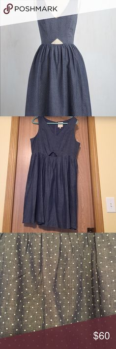 Modcloth The Fun Has Just Begun Dress, size XL NWOT- polka dot chambray dress, with fun unexpected midriff cutout and hidden pockets. Size XL ModCloth Dresses