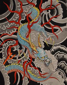 Sky Dragon by Clark North w/ Antlers Japanese Tattoo Canvas Art Print – moodswingsonthenet