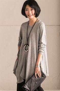 Light Gray Spring A-style Cotton Simply Long Knit Dress Women Clothes Z226A