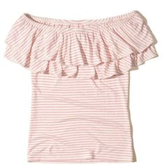 Hollister Ruffle Off-The-Shoulder Top ($25) ❤ liked on Polyvore featuring tops, blouses, pink stripe, pink off the shoulder top, off shoulder blouse, off the shoulder blouse, frilly blouse and striped off-the-shoulder tops