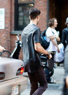 leather shirt..