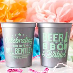 Our Beer, Bbq, & Babies party cups are perfect for your summer baby shower! Our Stadium Cups are Custom designed and printed, personalized 16 oz. plastic stadium cups help you Celebrate Happy even before your event starts. Baby Shower Favors, Baby Shower Decorations, Baby Shower Gifts, Gifts For Dad, Fathers Day Gifts, Happy Cup, Colorful Baby Showers, Foam Cups, Personalized Cups