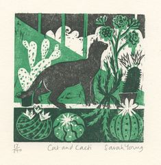 Cat and Cactus - Woodcut by Sarah Young #linoprint #handprinted #blockprint