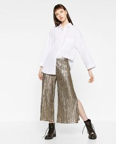 Image 1 of PLEATED SHINY TROUSERS from Zara