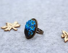 Polymer Clay Ring - Fimo Ring - Unique Ring - Handmade Jewelry - Blue Flower…