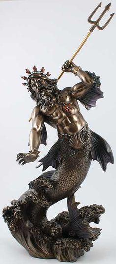 Poseidon in the Storm Statue