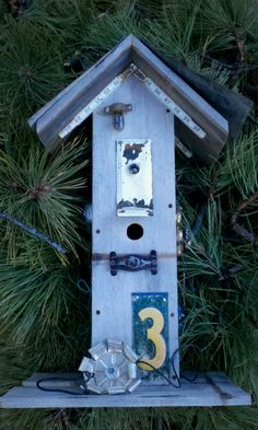 Tall Rustic BIRDHOUSE with Vintage Recycled by FilthyRichDesigns