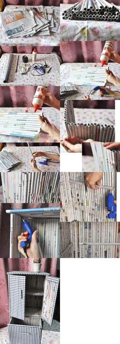 DIY: Newspaper Cupboard  (Found on: www(dot)duitang(dot)com, but the site is blocked from Pinterest.)