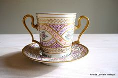 Limoges handpainted tasse trembleuse French by RueDeLouvain