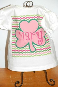 Chevron with Personalized Pink Clover St Patricks by mamamadebows, $15.00+