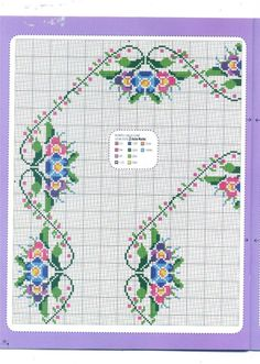 This Pin was discovered by Yas Cross Stitch Borders, Cross Stitch Flowers, Counted Cross Stitch Patterns, Cross Stitch Charts, Cross Stitch Designs, Cross Stitching, Cross Stitch Embroidery, Embroidery Patterns, Hand Embroidery
