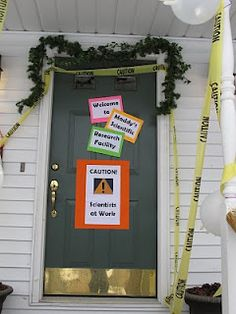 A Science Birthday Party front door decor.