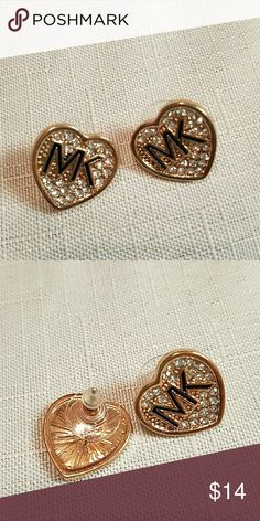 MK gold and crystal heart earrings MK golden crystal heart earrings NWOT Michael Kors Jewelry Earrings