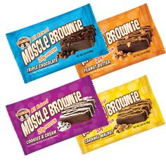 Muscle Brownies - 20g of protein packed into a delicious brownie. Available at LennyLarry.com, Vitamin Shoppe, GNC, Whole Foods, Ralph's, Kroger, and many more.
