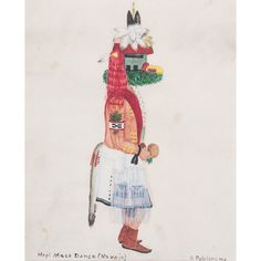 Otis Polelonema (Hopi, 1902-1981) Gouache on Paper, From The Harriet and Seymour Koenig Collection, New York | Cowan's Auction House: The Midwest's Most Trusted Auction House / Antiques / Fine Art / Art Appraisals