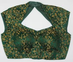 Ready-Made Designer Padded Saree Blouse Choli Green and gold...Ships From USA
