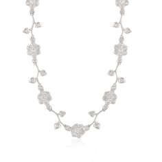 This flower necklace is 18 karat white gold with diamonds
