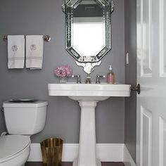 Light Blue Paint In Bathroom With Dark Wood And Light
