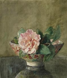 John La Farge, Camellia in Old Chinese Vase on Black Lacquer Table, 19th century