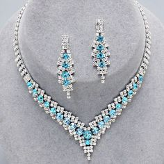 Aqua diamante crystal necklace set from WWW.GlitzyGlamour.co.uk (available in other colours)