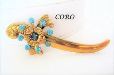 Excited to share the latest addition to my #etsy shop: Coro Pegasus Sword Brooch,  Aqua Rhinestones, Gold Tone