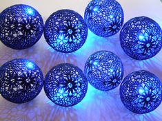 Party Lighting, Holiday Lights, Bedroom Decor lamps, Fairy Lights, String Lights, 20 Crocheted navy blue balls , garland light