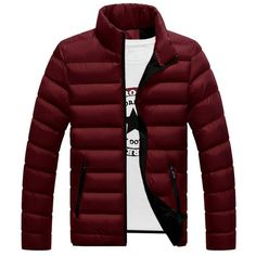 Stand Collar Contrast Zipper Quilted Jacket (63 BAM) ❤ liked on Polyvore featuring men's fashion, men's clothing, men's outerwear, men's jackets, mens zip up jackets, mens quilted jacket and mens zipper jacket