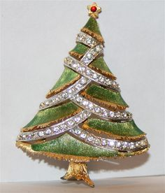 JJ Pave Rhinestone Garland Christmas Tree Pin ~ Book Piece...one of the prettiest trees JJ ever made!