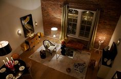 modern living room with brick wall - Google Search