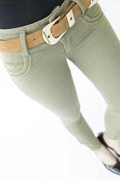 JEAN COLOR VERDE HOJA SECA Ponte Pants, Colored Jeans, Push Up, Denim Jeans, Lady, Collection, Fashion, Texans, Trousers