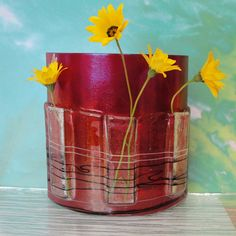 Fused Glass Table Vase Iridescent Red Metallic Dragonfly Art Glass Home Decor Art Flower Bud Vase Gifts Under 75 Anniversary Gifts For Her