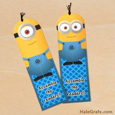 FREE Printable Despicable Me Minion Bookmarks ~ Print these adorable bookmarks then using a needle, add some black thread for the cute minion hair-do!