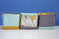 Fabric storage baskets set  Barn Owl by AlexiaClaire on Etsy, £28.00