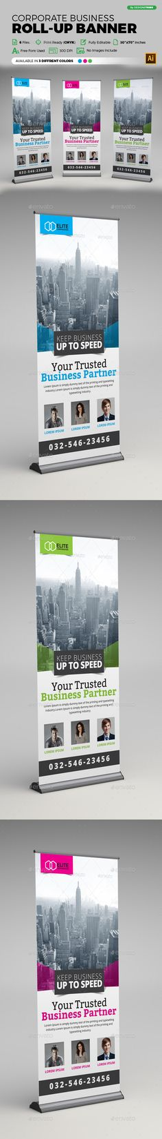 Buy Corporate Business Roll-up Banner by arsalanhanif on GraphicRiver. Corporate Business Roll-up Banner Template. This layout is suitable for any business. Very easy to use and customize. Signage Design, Brochure Design, Banner Design, Cool Business Cards, Corporate Business, Rollup Design, Standee Design, Insurance Ads, Pop Up Banner