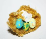 Miniature Fairy Garden Bird Nest $16 Adorable cute little bird nest. Bird and the eggs are sculpted from fimo. I used regular fimoo clay and also extra sparkling fimo. The nest fabric is the courtesy of my nana. Color of the birds are birds are sparkly yellow and white, Eggs are blue with yellow dots and yellow with green dots. Free shipping worldwide! Scale 1:12 Perfect for fairy gardenn, dollhouse or a room box display. For adult collection and display, unsuitable for children due to small… Garden Items, Green Dot, Miniature Fairy Gardens, Little Birds, Dots Free, Bird Nests, Miniatures, Clay, Online Portfolio