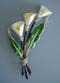 "GREEN enameled leaves calla lily brooch, 4"", circa 1945"