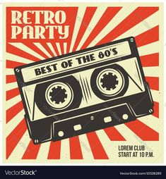 Retro party advertising with audio cassette. Old school poster design. Retro party advertising with audio cassette. Old school poster design. Retro Party, Vintage Party, Adobe Illustrator, Poster Design, Vintage Design Poster, Retro Radios, School Posters, Party Poster, Photo Wall Collage
