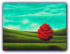 ORIGINAL Art Oil Painting Nature Art Red Tree Painting by BingArt, $199.95