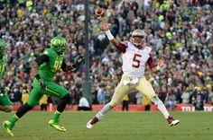 Quarterback Jameis Winston #5 of the Florida State Seminoles throws a 18-yard touchdown pass against the Oregon Ducks in the third quarter of the College Football Playoff Semifinal at the Rose Bowl Game presented by Northwestern Mutual at the Rose Bowl on January 1, 2015 in Pasadena, California. (Dec. 31, 2014 - Source: Harry How/Getty Images North America)
