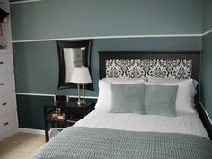 ooh, I would not have thought of wallpaper . . . it looks apolstered -  strip walls with walpapered headboard