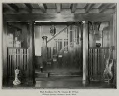 Hall, Residence for Mr. Clayton D. Wilson Wilson & Loveless. Architects, Seattle, WA. Look at all that woodwork. I'll bet this was gorgeous in color!