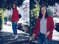 Andreea Birsan - Christian Dior So Real Sunglasses, Zara Striped Tshirt, Mango Red Blazer, Pelledoca Leather Bag, H&M Distressed Boyfriend Jeans, Silver Shoes - Red blazer & boyfriend jeans II
